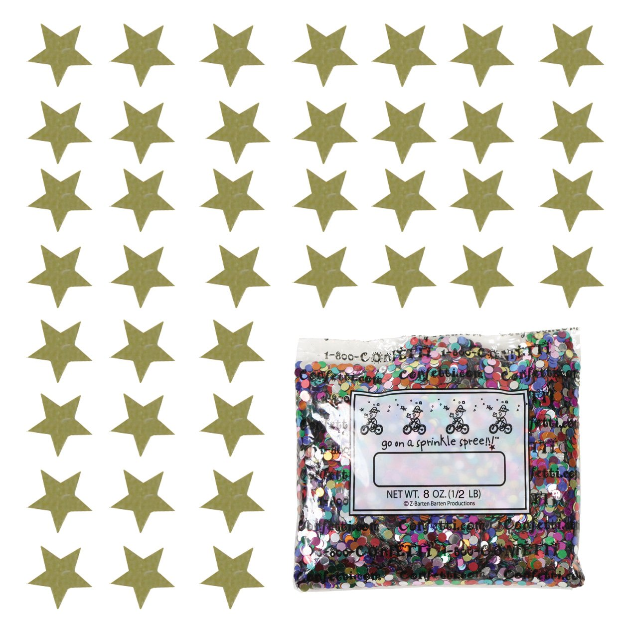 Confetti Star 1/4'' Gold - Half Pound (8 oz) Free Ship (8522) by Jimmy Jems