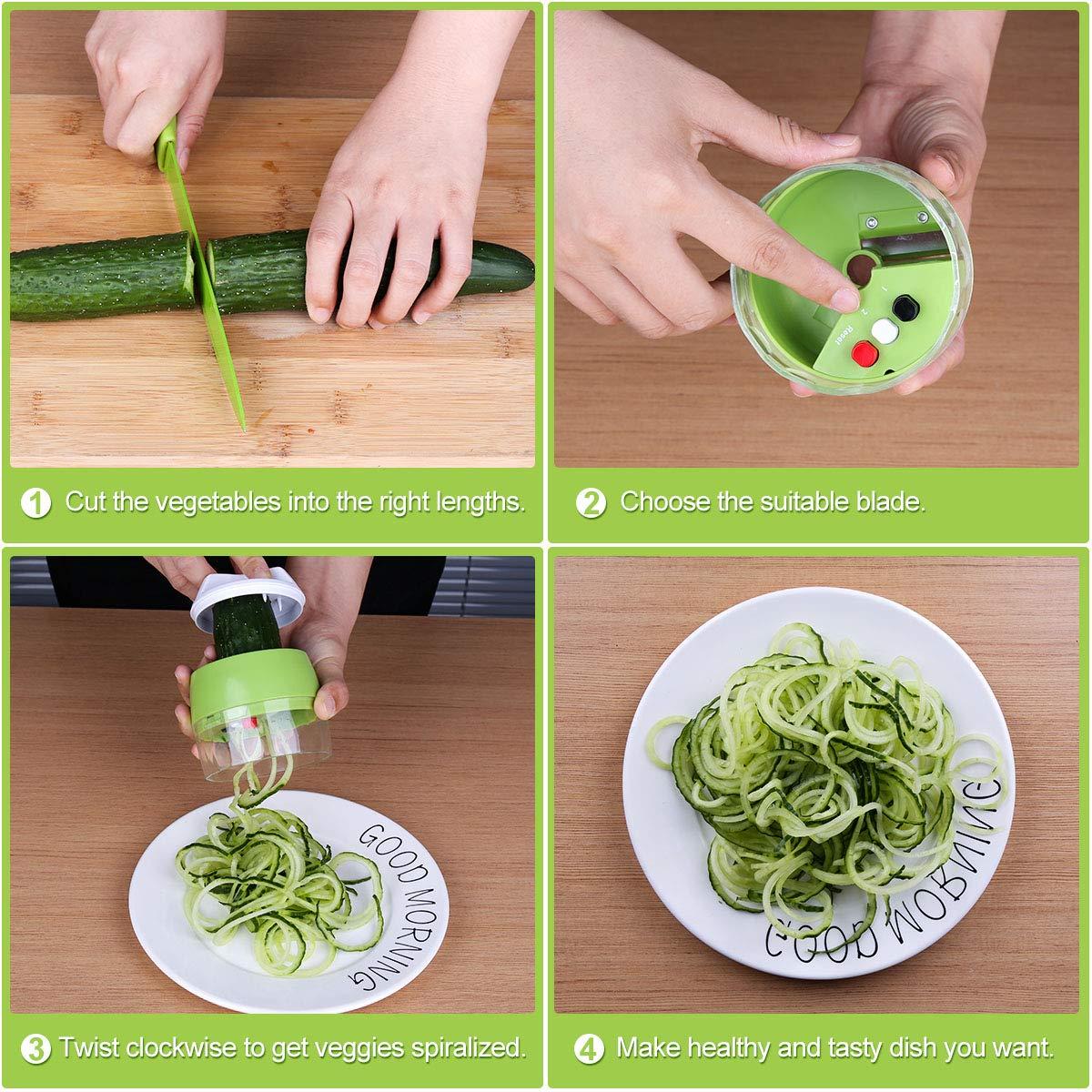 Vegetable Spiralizer ACTOPP Spiral Slicer Green Vegetable Cutter Small and Lightweight Hand Held Spiralizer Creats Continuous Noodles for Zucchini Cucumber Carrot Pumpkin (Green)