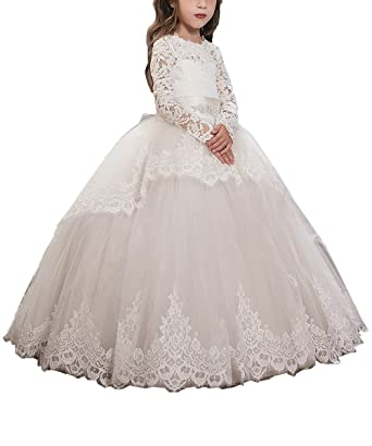 0bdea8b1c4ca2 Pink Lace Up Long Sleeves Flower Girl First Communion Dresses US 2 Ivory