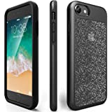 iPhone 7 Shockproof Case, ZVEpower Mobile iPhone 8 Protective Bling Case Slim Shockproof Crystal Detachable PC Flexible TPU Rubber Silicone Skin Cover Shell for Apple iPhone 7 iPhone 8 Black