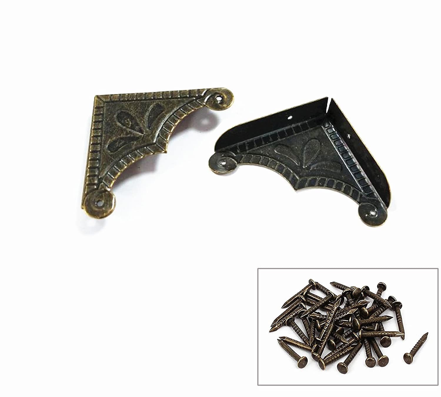 LTD Antrader 30pcs Box Corner Protector Metal Screw Fixed Desk Corner Safety Edge Guard Bronze Tone 1.9 x 1.9 Guangzhou Openfind Electronic Commerce CO