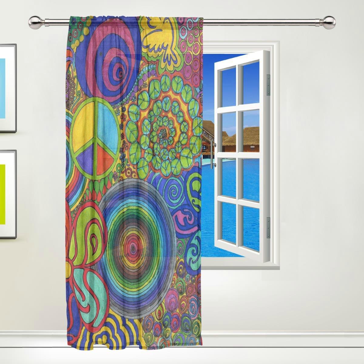 Earth Heart Window Sheer Curtains Digital Printed Polyester Fiber Drapes for Door Kitchen Living Room Bedroom