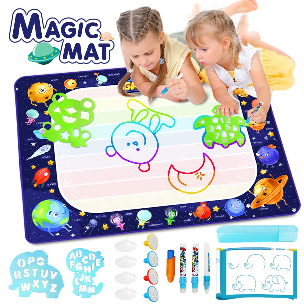 Betheaces Large Water Doodle Mat - Magic Drawing Mat Kids Toys Doodle Painting Writing Board with Magic Pens Educational Toys Gifts for Toddlers Boys Girls Age of 2 3 4 5 6 7 8 Year Old 40''x 28'' by Betheaces