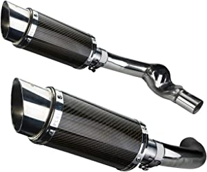 """Delkevic Aftermarket Slip On compatible with Honda CBR1000F Hurricane (1987-1999) with Mini 8"""" Carbon Fiber Round Muffler"""