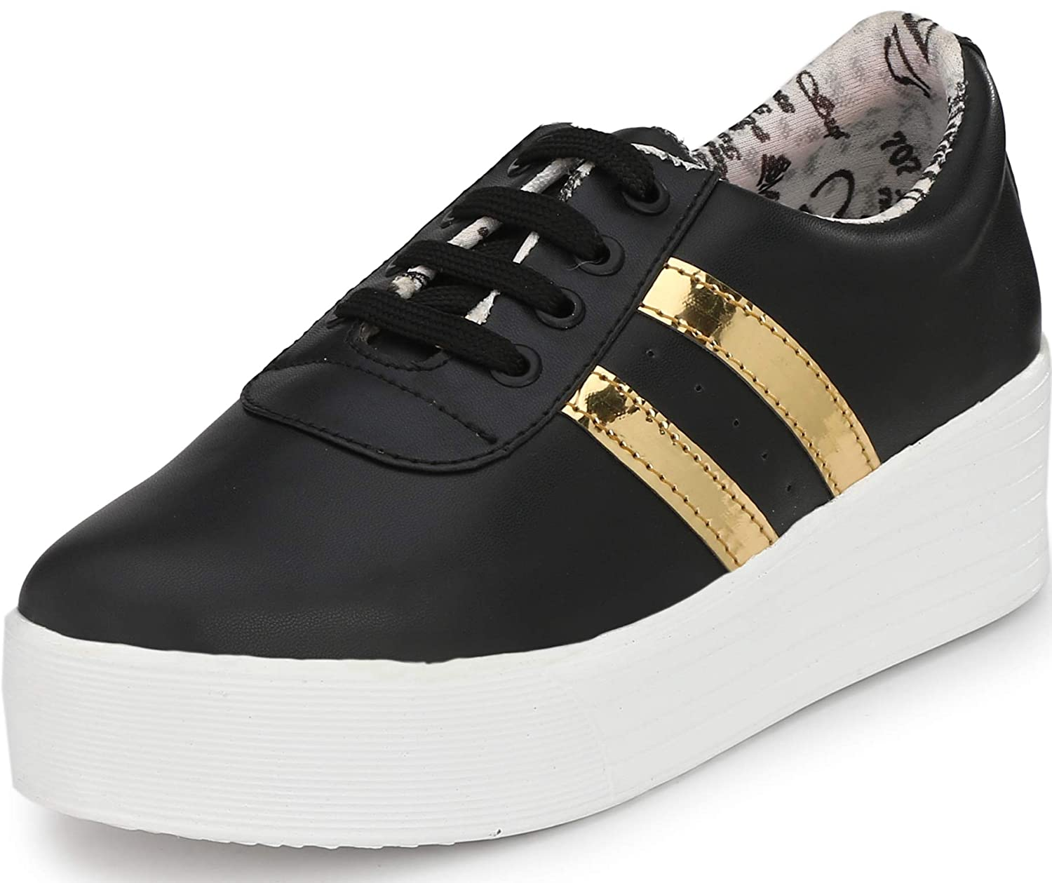 5abbcaa097ff11 Flooristo Casual Black Gold High Sole Sneakers Shoes for Women/Girls: Buy  Online at Low Prices in India - Amazon.in