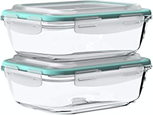 Vallo Large Glass Food Storage Containers with Snap Lock Lids for Leftovers - Safe for Microwave, Oven, Dishwasher, Freezer - BPA Free - Airtight & Leakproof [2 Pack]