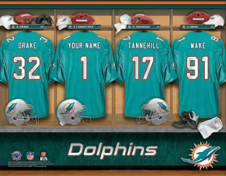 premium selection 20b7d 442bf Amazon.com : Personalized Miami Dolphins Wall Poster, Locker ...