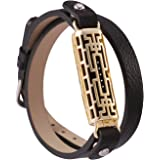 For Fitbit Flex 2 Bands, Fit bit Accessories Wristband for Flex2 by GHIJKL-Metal and Leather Bangle-Bracelet Style
