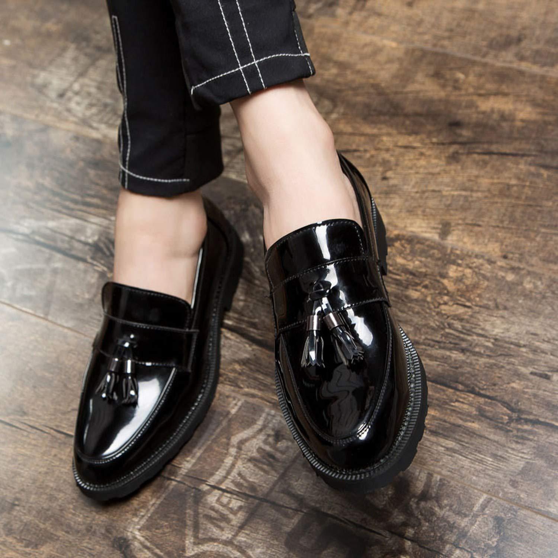 506ed25e9829d Amazon.com   Men Shoes Casual Tassel Loafers Black Slip On Patent ...