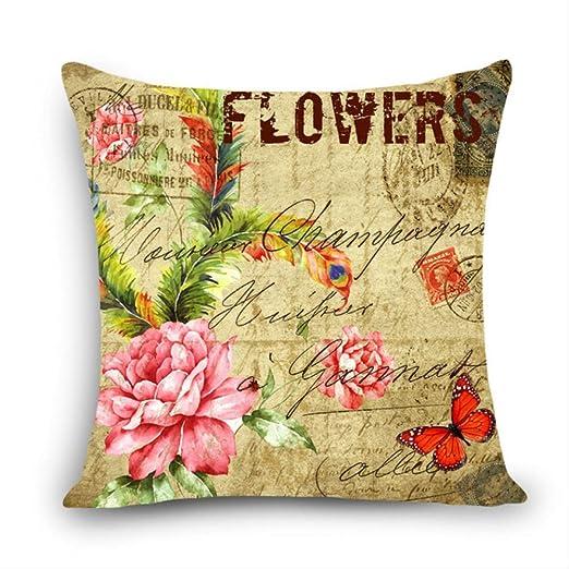 hzbxhcus Cojín, Incluye Relleno, Mariposa Floral Vintage ...