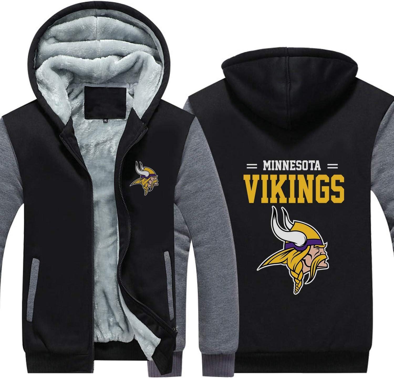 XZWQ Herren Hoodie Minnesota Vikings American Football Trikot Pullover Unisex Rei/ßverschluss Gepolsterter Hoodie Top Sportswear Sportswear Rugby Hoodie