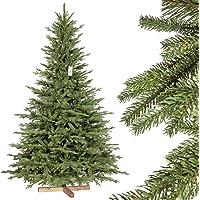 FairyTrees Arbre de Noël Artificiel Sapin de Bavière Premium PU, Socle en Bois, FT23