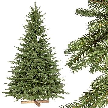 Künstlicher Tannenbaum Wie Echt.Fairytrees Weihnachtsbaum Künstlich Bayerische Tanne Premium Material Mix Aus Spritzguss Pvc Inkl Holzständer 220cm Ft23 220