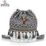Casual backpack - Angedanlia Ethnic Tribal Rucksack Drawstring Handmade Bag Travel Daypack Sports Portable School Bag for Teens Girls Wemen 3858