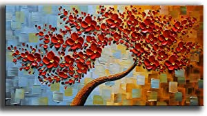 YaSheng Art -handpainted Contemporary Art Oil Painting On Canvas Texture Palette Knife Tree Paintings Modern Home Decor Wall Art 3D Red Flowers Paintings Ready to hang 20x40inch
