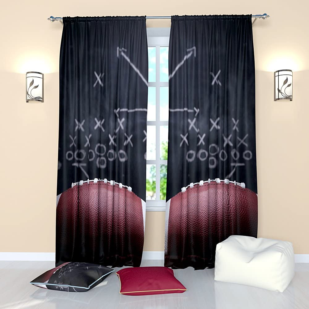Factory4me Football Curtains for Boys Sports Theme Curtain Window Panels Drapes for Men Living Room Bedroom W84 x L84 inches