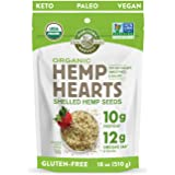 Manitoba Harvest Organic Hemp Hearts Shelled Hemp Seeds, 18oz; 10g Plant-Based Protein & 12g Omegas per Serving, Whole 30 App