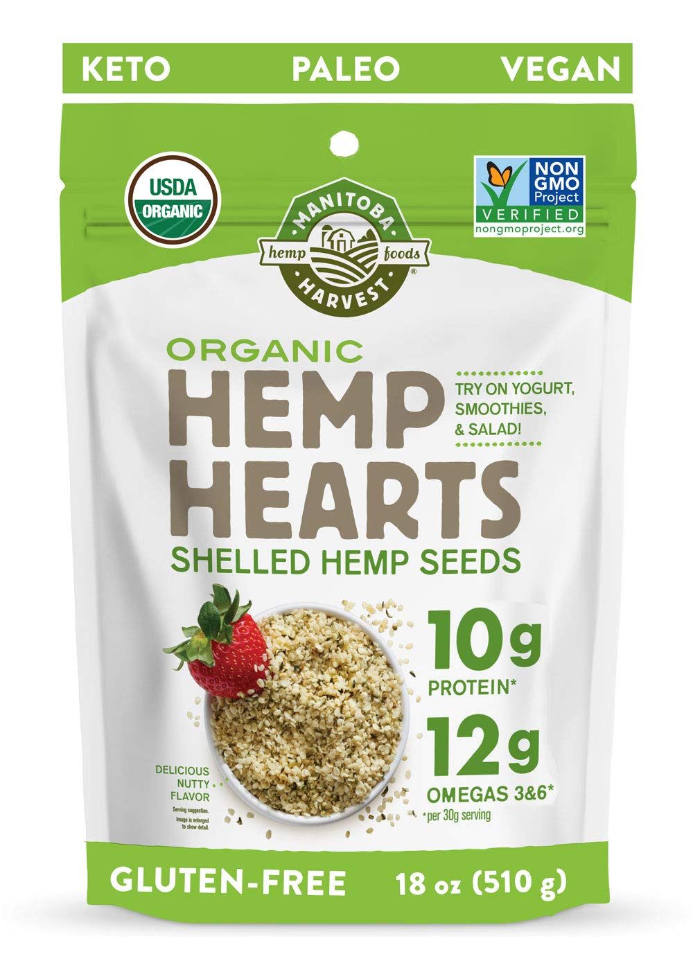 Manitoba Harvest Organic Hemp Hearts Shelled Hemp Seeds, 18oz; with 10g Protein & 12g Omegas per Serving, Non-GMO, Gluten Free