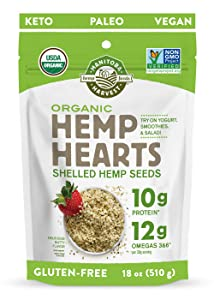 Manitoba Harvest Organic Hemp Hearts Shelled Hemp Seeds, 18oz; with 10g Protein & 12g Omegas per Serving, Non-GMO, Gluten Free