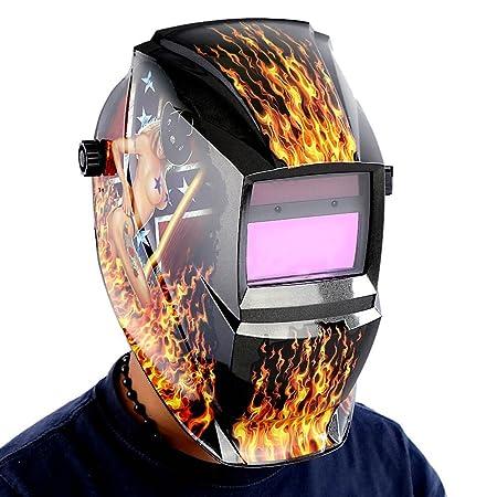 Mascara de soldador - TOOGOO(R) Mascara de soldador profesional Casco de soldadura de oscurecimiento automatico solar, Chica de llama: Amazon.es: Bricolaje ...