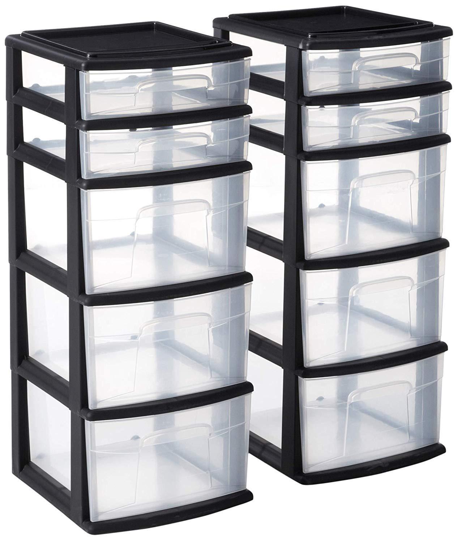 HOMZ Plastic 5 Drawer Medium Storage Tower, Black Frame, Clear Drawers, Set of 2 by Homz