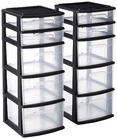 Amazon.com: HOMZ - Torre de almacenamiento de plástico con 5 ...