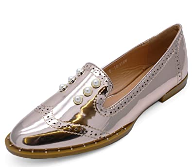 9735156dcf9d HeelzSoHigh Ladies Rose Gold Patent Slip-On Flat Loafers Smart Casual Comfy  Work Shoes Sizes 3-8  Amazon.co.uk  Shoes   Bags