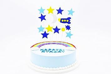Wunderbar Happy Birthday Kind Geburstag Kuchendekoration Cake Toppers Kuchen Deko  (Blau Gelb Rakete)