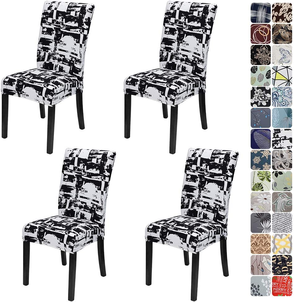 JOTOM Dining Chair Covers Seat Protector Stretch Removable Soft Spandex Decoration Seat Slipcovers for Home Dining Room Hotel Ceremony Banquet Wedding Party (Black and White, Pack of 4)