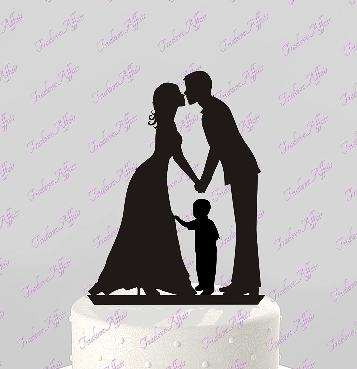 Amazon.com: Wedding Cake Topper Silhouette Groom and Bride with ...