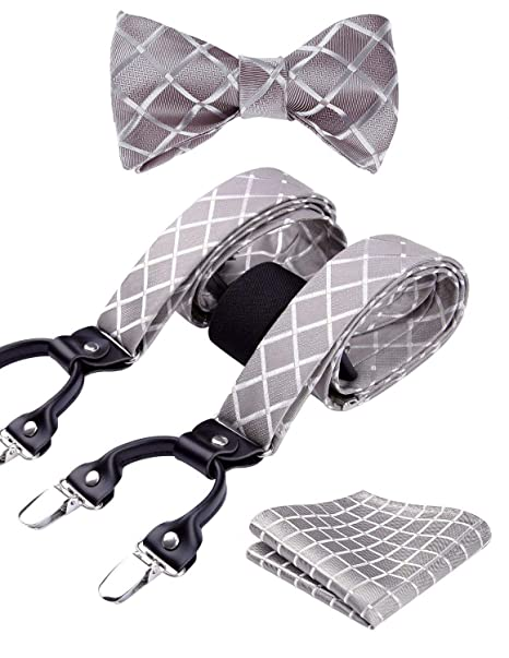 5a5b87292bc6 HISDERN Check Dots 6 Clips Suspenders & Bow Tie and Pocket Square Set Y  Shape Adjustable Braces at Amazon Men's Clothing store: