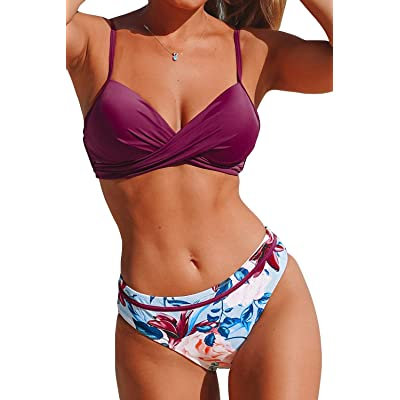 CUPSHE Women's Wrap Top Floral Bottom Bathing Suit Two Piece Sexy Swimsuit: Clothing