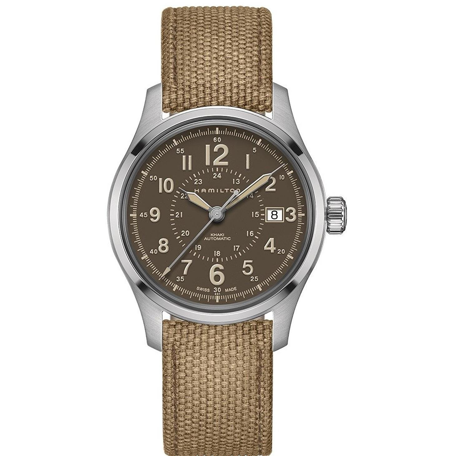 8f3987786 Buy Hamilton H70305993 Brown 40mm Stainless-Steel Khaki Field Auto Mens  Watch at £477.72