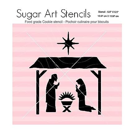 Amazon Com Christmas Nativity Cookie Stencil Nb2134 Kitchen Dining
