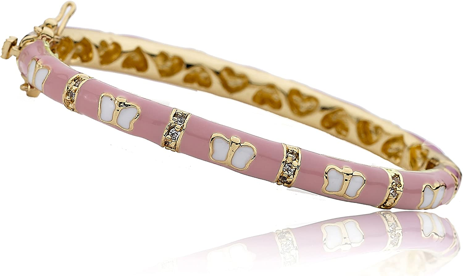 Little Miss Twin Stars Outfit Makers 14k Gold-Plated Hot Pink Enamel Bangle with Cubic Zirconia Lines /& White Butterflies// 35 mm