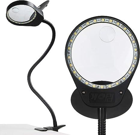 HOLULO 80LED Lampada Lngrandimento 10X Lenti di Ingrandimento da Tavolo con Luce e Filp,Lente dingrandimento con Supporto
