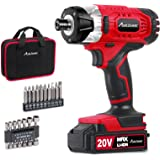 "Impact Driver Kit, 1590 in-lbs 20V MAX Cordless 1/4"" Hex Impact Drill, Variable Speed, with 14Pcs Sockets, 10Pcs Driver…"