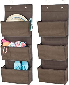 mDesign Soft Fabric Over The Door Hanging Storage Organizer with 3 Large Pockets for Closets in Bedrooms, Hallway, Entryway, Mudroom - Hooks Included - Textured Print, 2 Pack - Espresso Brown