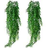 KingYH 2 Pack Artificial Hanging Plants Fake Willow Leaves Ivy Vine Plastic Trailing Weeping Greenery Drooping Plant for…