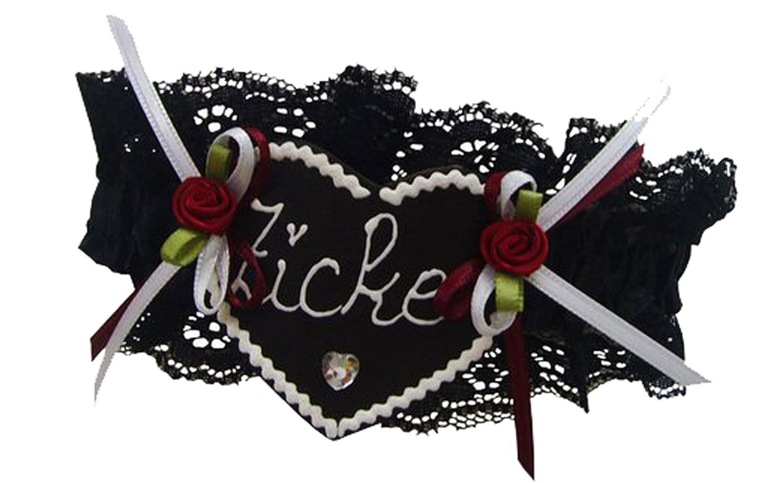 Oktoberfest Strumpfband Zicke schwarz mit Lederherz Rosen