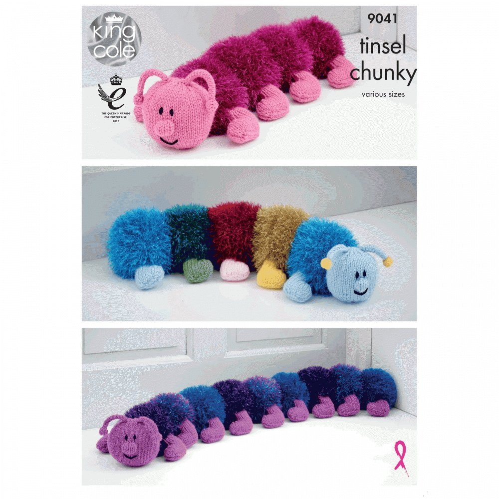King Cole Caterpillar Toy Doorstop Draught Excluder Knitting Pattern 9041 Chunky