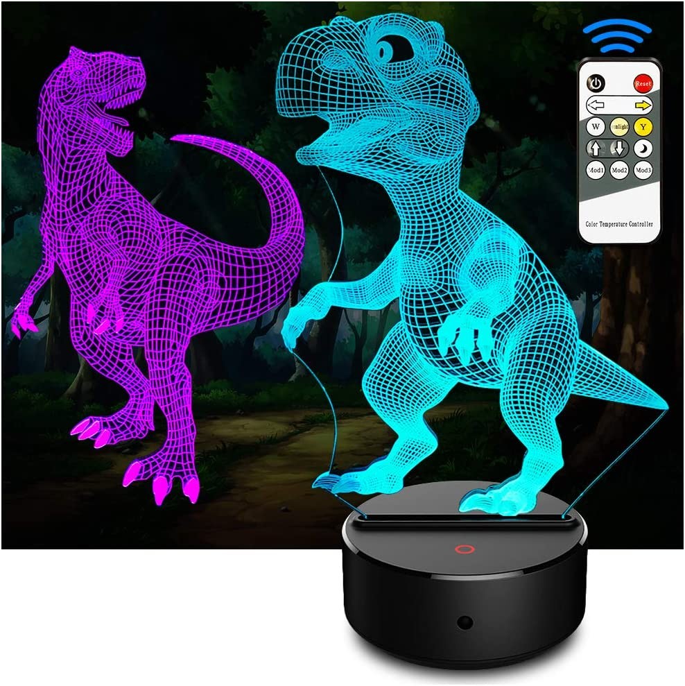 3D Visual Illusion Night Light Toys,Home Decor LED Bedside Table Desk Lamp,7 Colours Change Smart Touch Switch,Christmas Birthday Gift for Girls Boys Kids Adults Friends and Family A Comiwe Dinosaur