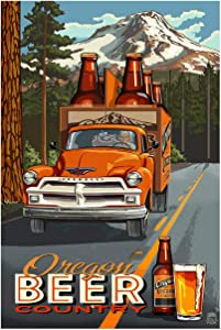 Oregon Beer Country Truck Giclee Art Print Poster from Original Travel Artwork by Artist Paul A. Lanquist 12