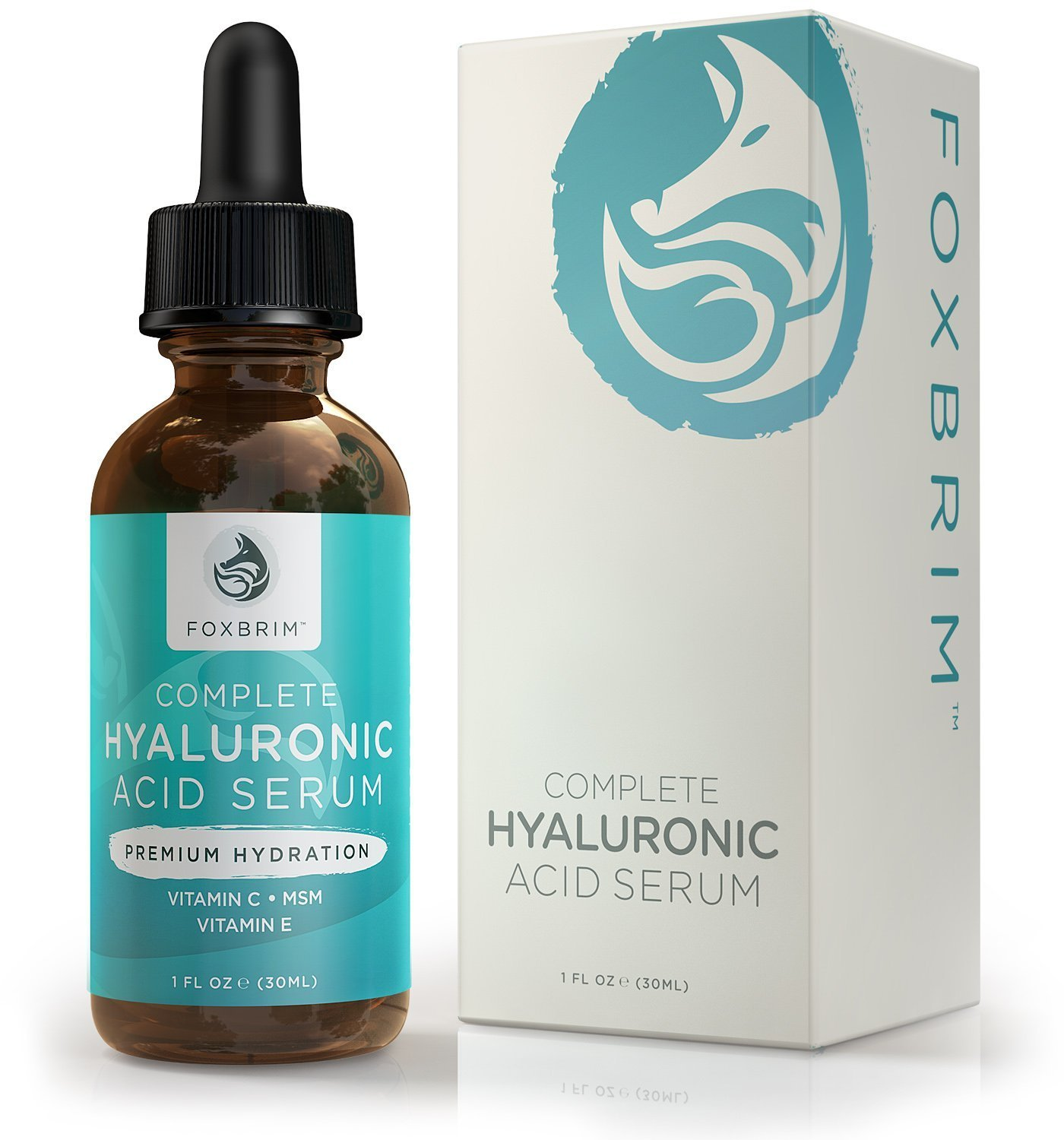 Complete Hyaluronic Acid Serum - Hydrating ANTI-AGING Face Serum - Moisturize & Reduce Fine Lines - Premium Powerful Ingredients Vitamin C, Green Tea, Jojoba Oil & Witch Hazel - Natural & Organic for Lasting Results - Foxbrim 1OZ Foxbrim Natur
