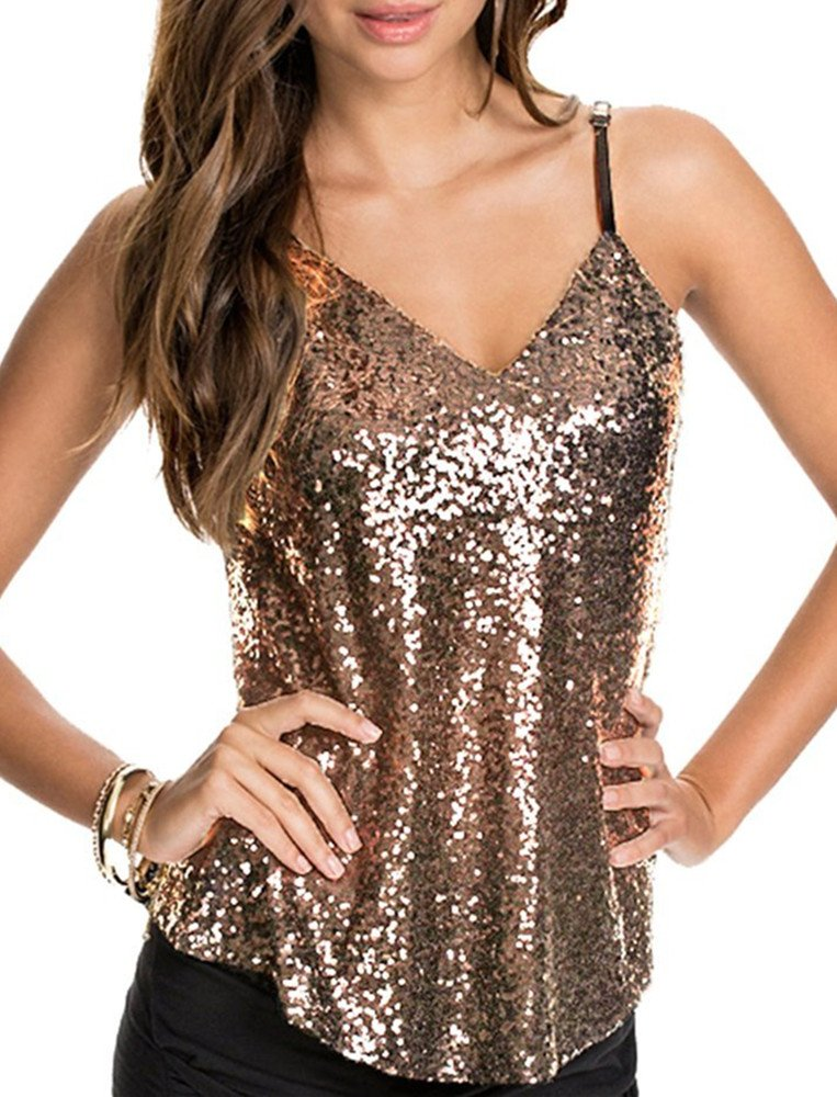 Inorin Womens Gold Tank Top Sparkly Sequin Spaghetti Strap Summer Sexy Camisole Tops