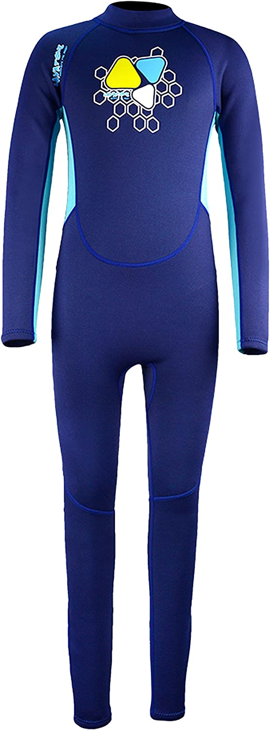 Kids 2mm Neoprene Wetsuit One-Piece Long Sleeve UV Protection Zipper Diving Suit