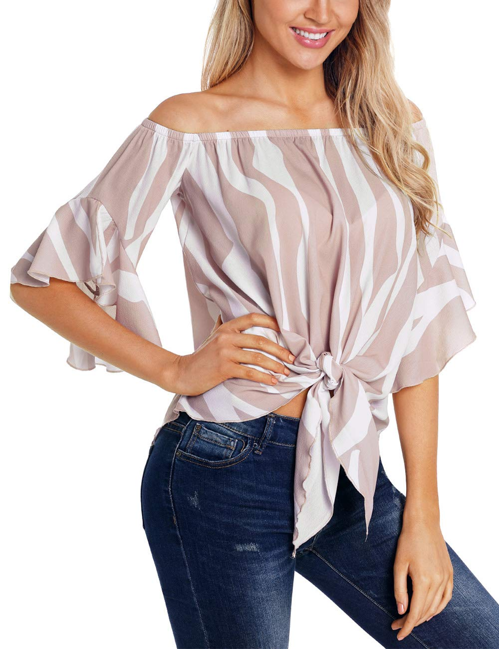 RSM &CHENG Women's Striped Off Shoulder Bell Sleeve Shirt Tie Knot Casual Blouses Tops(Stripe Pink,L
