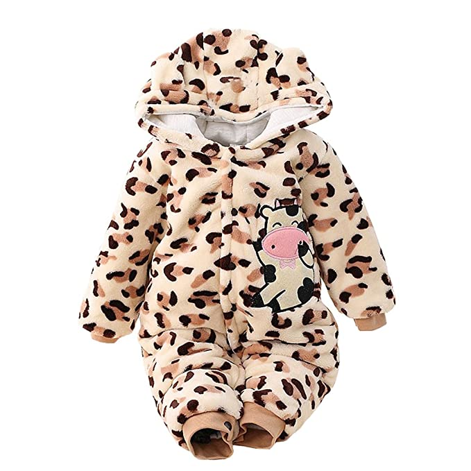 Size 6M-5T Leveret Baby Girls Cow Pink Fleece Footed Sleeper Pajama