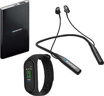 Blaupunkt BLP1560 Pack Pulsera Deportiva Auriculares Bluetooth y Power Bank, 4000 mAh, Podómetro, Monitoreo de Sueño, Ritmo Cardíaco: Amazon.es: Electrónica