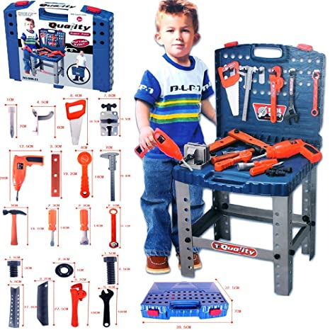 "Realistic Toy Tool Set Workbench Kids Workshop Toolbench with ""electric"" ..."